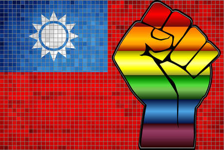 Shiny LGBT Protest Fist on a Taiwan Flag - Illustration,  Abstract Mosaic Taiwan and Gay flags