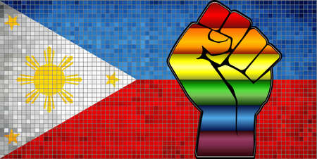 Shiny LGBT Protest Fist on a Philippine Flag - Illustration,  Abstract Mosaic Philippine and Gay flags Stock Illustratie