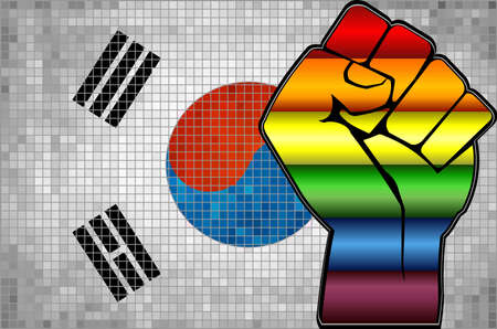 Shiny LGBT Protest Fist on a South Korea Flag - Illustration,  Abstract Mosaic South Korea and Gay flags