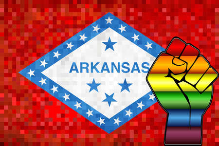 Shiny LGBT Protest Fist on a Arkansas Flag - Illustration,  Abstract Mosaic Arkansas and Gay flags