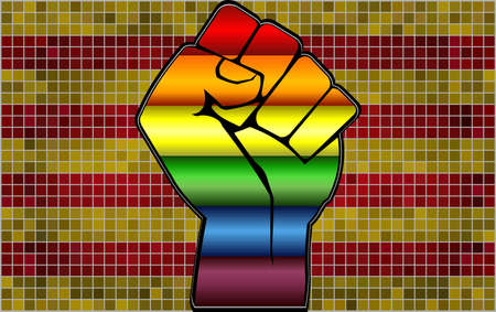 Shiny LGBT Protest Fist on a Catalonia Flag - Illustration,  Abstract Mosaic Catalonia and Gay flags