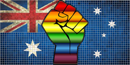 Shiny LGBT Protest Fist on a Australia Flag - Illustration,  Abstract Mosaic Australia and Gay flags