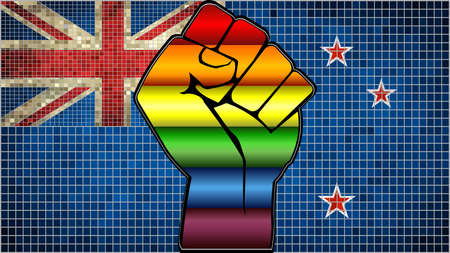 Shiny LGBT Protest Fist on a New Zealand Flag - Illustration,  Abstract Mosaic New Zealand and Gay flags