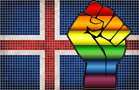 Shiny LGBT Protest Fist on a Iceland Flag - Illustration,  Abstract Mosaic Iceland and Gay flags