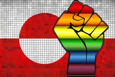Shiny LGBT Protest Fist on a Greenland Flag - Illustration,  Abstract Mosaic Greenland and Gay flags