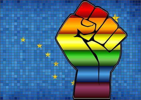 Glänzende LGBT-Protestfaust auf einer Alaska-Flagge - Illustration, abstraktes Mosaik Alaska und schwule Flaggen