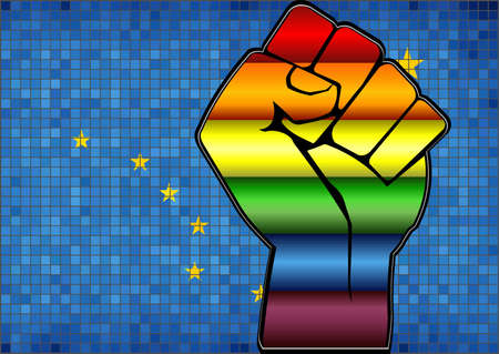 Shiny LGBT Protest Fist on a Alaska Flag - Illustration,  Abstract Mosaic Alaska and Gay flags