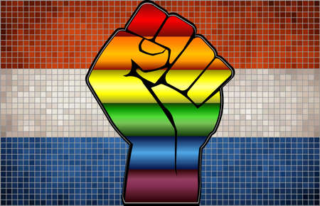 Shiny LGBT Protest Fist on a Netherlands Flag - Illustration,  Abstract Mosaic Netherlands and Gay flags