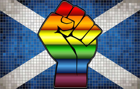 Shiny LGBT Protest Fist on a Cyprus Flag - Illustration,  Abstract Mosaic Cyprus and Gay flags