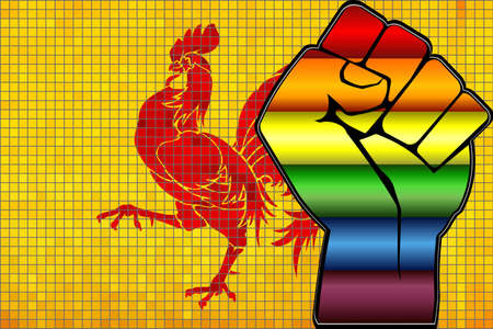 Shiny LGBT Protest Fist on a Flemish Region Flag - Illustration,  Abstract Mosaic Flemish Region and Gay flags