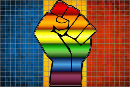 Shiny LGBT Protest Fist on a Romania Flag - Illustration,  Abstract Mosaic Romania and Gay flags