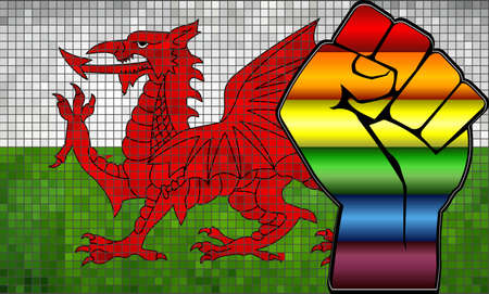 Shiny LGBT Protest Fist on a Wales Flag - Illustration,  Abstract Mosaic Wales and Gay flags