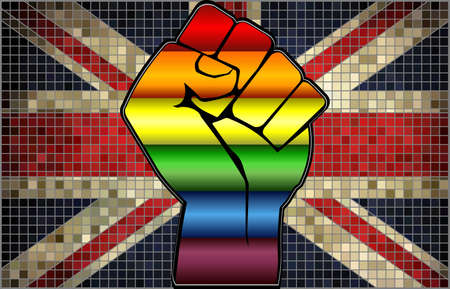 Shiny LGBT Protest Fist on a United Kingdom Flag - Illustration,  Abstract Mosaic United Kingdom and Gay flags