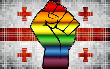Shiny LGBT Protest Fist on a Georgia Flag - Illustration,  Abstract Mosaic Georgia and Gay flags