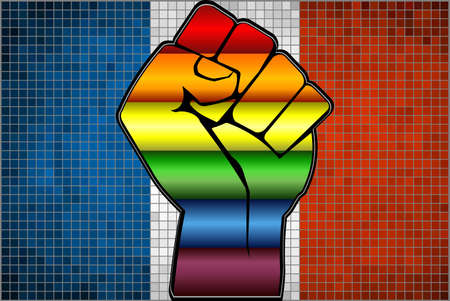 Shiny LGBT Protest Fist on a France Flag - Illustration,  Abstract Mosaic France and Gay flags