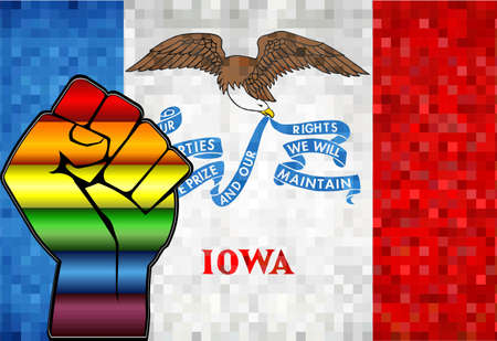 Shiny LGBT Protest Fist on a Iowa Flag - Illustration,  Abstract Mosaic Iowa and Gay flags
