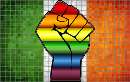 Shiny LGBT Protest Fist on a Ireland Flag - Illustration,  Abstract Mosaic Ireland and Gay flags