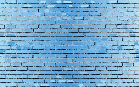 Glanzende lichtblauwe bakstenen muur - illustratie, abstracte vectorachtergrond