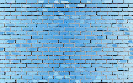 Shiny Light Blue Brick Wall - Illustration,  Abstract vector background
