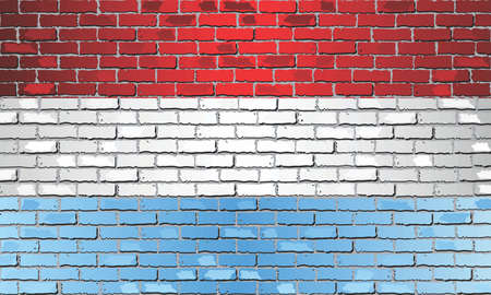 Shiny flag of Luxembourg on a brick wall - Illustration, Abstract grunge vector background Stockfoto - 128038537