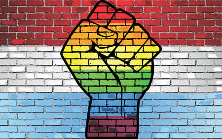 Shiny LGBT Protest Fist on a Luxembourg brick Wall Flag - Illustration,  Brick Wall Luxembourg and Gay flags Illustration
