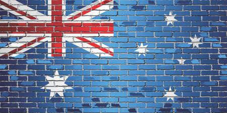 Shiny flag of Australia on a brick wall - Illustration, Abstract grunge vector background Stock Illustratie