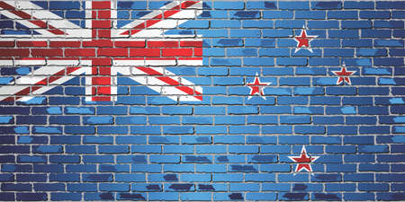 Shiny flag of New Zealand on a brick wall - Illustration, Abstract grunge vector background Ilustração