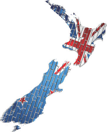 Map of the New Zealand with shiny flag inside - Illustration Illustration