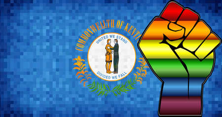 Shiny LGBT Protest Fist on a Kentucky Flag - Illustration,  Abstract Mosaic Kentucky and Gay flags