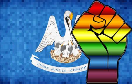 Shiny LGBT Protest Fist on a Louisiana Flag - Illustration,  Abstract Mosaic Louisiana and Gay flags Stockfoto - 128038599