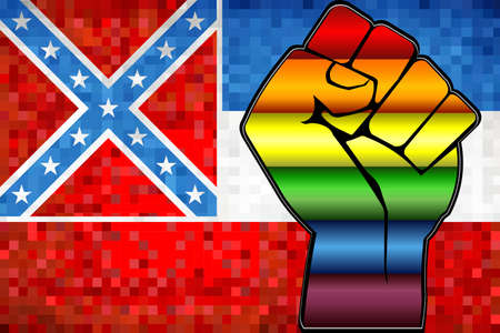 Shiny LGBT Protest Fist on a Mississippi Flag - Illustration,  Abstract Mosaic Mississippi and Gay flags Stockfoto - 128038603