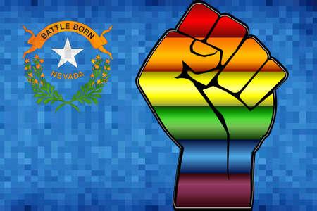 Glänzende LGBT-Protestfaust auf einer Flagge von Nevada - Illustration, abstraktes Mosaik Nevada und Gay-Flags
