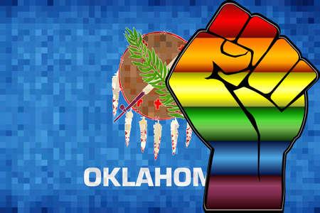 Shiny LGBT Protest Fist on a Oklahoma Flag - Illustration,  Abstract Mosaic Oklahoma and Gay flags Stock Illustratie