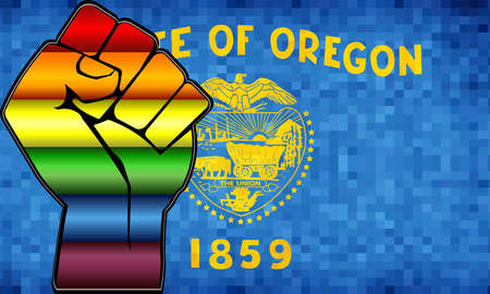 Shiny LGBT Protest Fist on a Oregon Flag - Illustration,  Abstract Mosaic Oregon and Gay flags  イラスト・ベクター素材