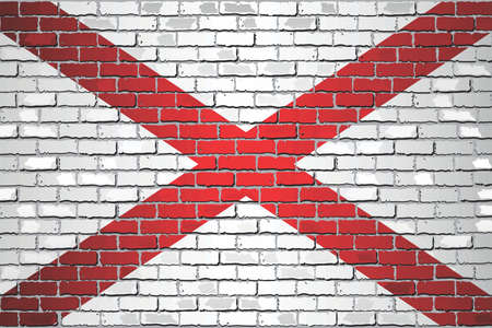 Shiny flag of Alabama on a brick wall - Illustration, Abstract grunge vector background