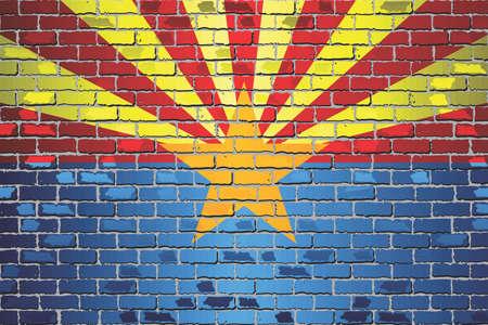 Shiny flag of Arizona on a brick wall - Illustration, Abstract grunge vector background