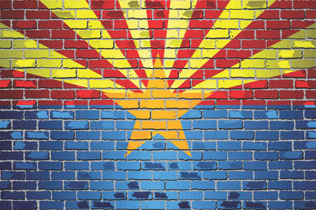 Shiny flag of Arizona on a brick wall - Illustration, Abstract grunge vector background