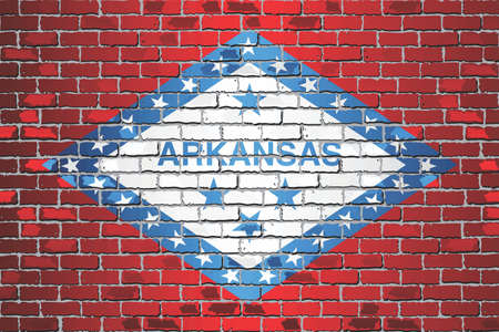 Shiny flag of Arkansas on a brick wall - Illustration, Abstract grunge vector background