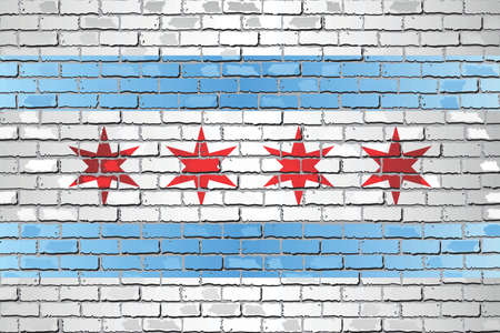 Shiny flag of Chicago on a brick wall - Illustration, Abstract grunge vector background Illustration