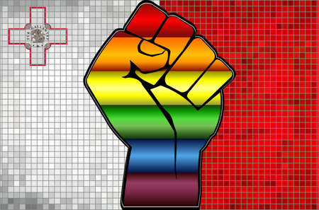 Shiny LGBT Protest Fist on a Malta Flag - Illustration,  Abstract Mosaic Malta and Gay flags