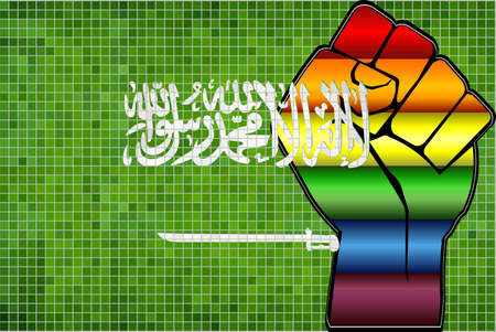 Shiny LGBT Protest Fist on a Saudi Arabia Flag - Illustration,  Abstract Mosaic Saudi Arabia and Gay flags