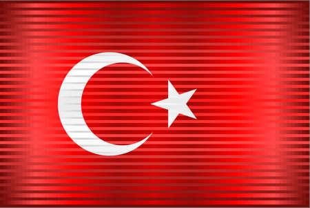 Shiny Grunge flag of the Turkey - Illustration,  Three dimensional flag of Turkey