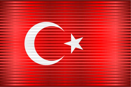 Shiny Grunge flag of the Turkey - Illustration,  Three dimensional flag of Turkey