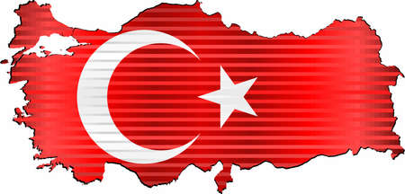 Shiny Grunge map of the Turkey - Illustration,  Three Dimensional Map of Turkey