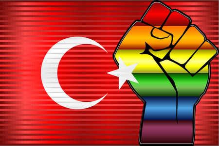 Shiny LGBT Protest Fist on a Turkey Flag - Illustration,  Abstract Shiny Turkey and Gay flags Stockfoto - 128038653