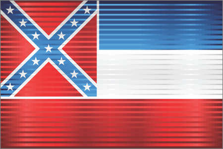 Shiny Grunge flag of the Mississippi - Illustration,  Three dimensional flag of Mississippi