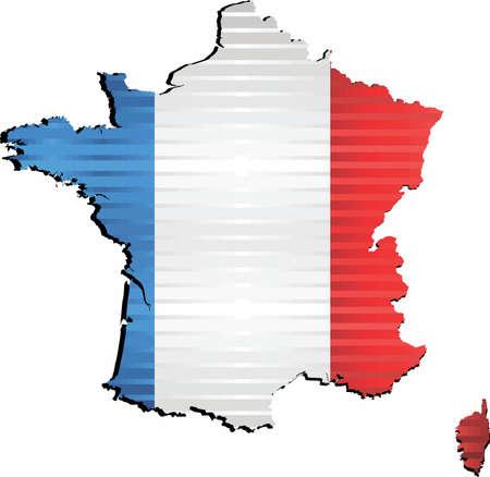 Glänzende Grunge-Karte von Frankreich - Illustration, dreidimensionale Karte von Frankreich