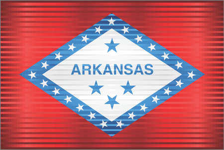 Shiny Grunge flag of the Arkansas - Illustration,  Three dimensional flag of Arkansas