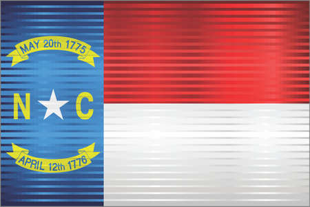 Shiny Grunge flag of the North Carolina - Illustration,  Three dimensional flag of North Carolina