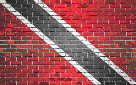 Shiny flag of Trinidad and Tobago on a brick wall - Illustration, Abstract grunge vector background